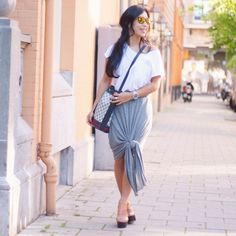 Your Outfit Today » White top on grey skirt, July 25 2014