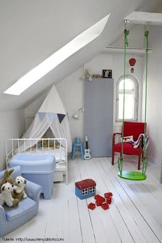 Bright Green Indoor Swing in Childrens Room. Snug but cute room. Attic Renovation, Attic Remodel, Modern Interior, Interior Design, Swing Indoor, Indoor Play, Childrens Swings, Deco Kids, Bedroom Decor