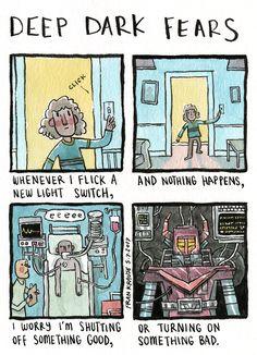 deep-dark-fears: Something just clicked. An anonymous fear. Fear Book, Deep Dark Fears, Arte Obscura, Creepy Stories, Arte Horror, Funny Relatable Memes, Cute Love, Funny Comics, Dark Art