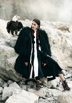 Lizzy Salt wears glamorous looks in the outdoors for FASHION Canada Magazine November 2016 issue