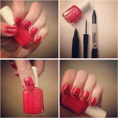Write on your nails with Sharpie. | 32 Easy Nail Art Hacks For The Perfect Manicure