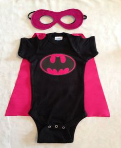 Batgirl Superhero Baby Onesie with Detachable Satin Cape and Reversible Mask, Pink Batman Apparel or Costume via Etsy