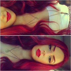 Bright red hair, red lips, makeup, red hair, hair colors