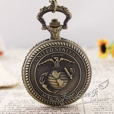Antique Good Quality Bronze Alloy Chain US Army Quartz Pocket Watch 3 Styles