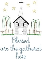 Blessed Are The Gathered - 5x7 | Primitive | Machine Embroidery Designs | SWAKembroidery.com