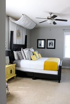 awesome 60 Visually Pleasant Yellow And Grey Bedroom Designs Ideas