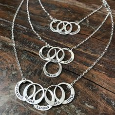 Circle Name Necklace 💫 Add up to 6 names! Circle Necklace, Name Necklace, Necklace Lengths, Cross Jewelry, Jewelry Rings, Gold Chains For Men, Girls Jewelry, Personalized Jewelry, Handmade Necklaces