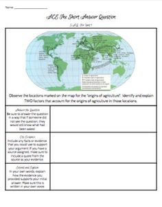 5 full pages with SAQ's for Time Periods Each SAQ is a part SAQ with the ACE graphic organizer and guidance on the side. High School World History, World History Classroom, Ap World History, Nerd Herd, Thing 1, Graphic Organizers, Geography, Lesson Plans, School Stuff