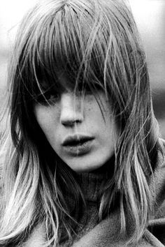 """""""Rebellion is the only thing that keeps you alive."""" Marrianne Faithfull •  Natural beauty Marianne with her perfect 60's bangs and piecey hair. •   Marianne Faithfull was born on December 29, 1946 in London, England. Her first single, """"As Tears Go By,"""" was produced by Rolling Stones manager Andrew Oldham. Faithfull dated Mick Jagger for several years, embodying the 1960's rock 'n' roll lifestyle. She continues to release albums and has appeared in numerous theater productions and films."""