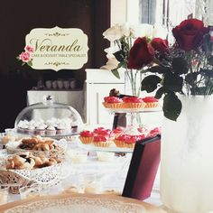 Red and White Simple Dessert table