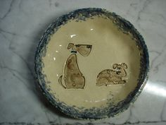 Cute Dog pottery pine needle basket bases on Etsy, $12.00