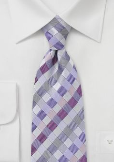 Diamond Tie in Silvers and Purples