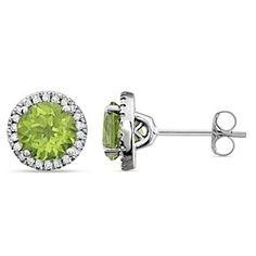 1/8 Ct 14k Solid White Gold Peridot & Diamond Halo Earrings by JewelryHub on Opensky