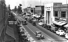 Photo from the collection of the Orange County Historical Society. www.orangecountyhistory.org Main Street, Street View, Orange County California, California History, Retro Futurism, Junk Drawer, Life Photo, Historical Society, Car Photos