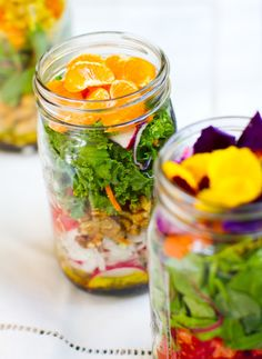 Make a gorgeous vegan salad in a mason jar. Make five salads in a jar on Sunday and they will stay fresh and crisp through the whole week. Keep dressing on the bottom or bring it separately. Get tips here.