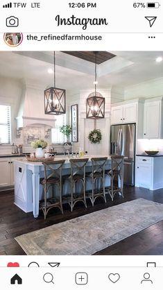 Farmhouse Kitchen Ideas To Consider Farmhouse Kitchen Decor, Kitchen Redo, New Kitchen, Kitchen Remodel, Kitchen Design, Kitchen Ideas, Kitchen Stools, Kitchen Shelves, Living Room Kitchen