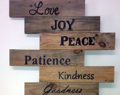 Fruit of the Spirit Wood Pallet Sign (Love Joy Peace Patience Kindness Goodness...)