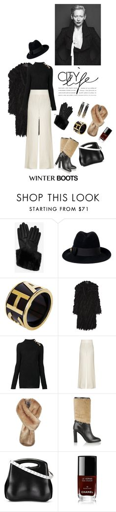 """Winter boots"" by iriadna ❤ liked on Polyvore featuring Ted Baker, Gucci, Chanel, Donna Karan, Balmain, Tabula Rasa and Burberry"