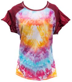 Tie-Dye Psychedelic T-shirt with Heart Design (women's L-XL) by ChromeLion on Etsy
