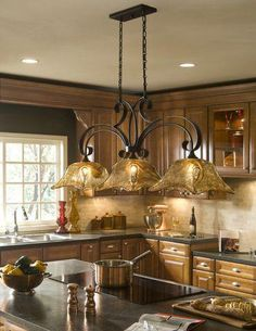 Old World Tuscan Style 3 Light Kitchen Island Chandelier Bronze Finish Country Kitchen Lighting, Kitchen Lighting Over Table, Kitchen Island Lighting, Kitchen Lighting Fixtures, Rustic Kitchen, Kitchen Decor, Primitive Kitchen, Kitchen Country, Ceiling Fixtures