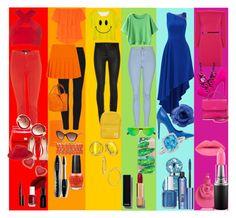 """""""Rainbow Looks"""" by rosiekitten ❤ liked on Polyvore featuring art"""