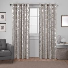 House of Hampton Kittrell Metallic Top Geometric Semi-Sheer Grommet Curtain Panels Curtain Color: Black Pearl, Size per Panel: W x L Home Curtains, Grommet Curtains, Window Curtains, Family Room Curtains, Country Curtains, Window Panels, Drapery Panels, Colorful Curtains, Geometric Curtains