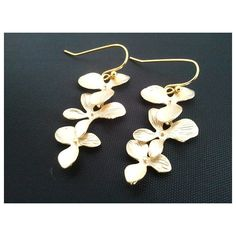 Dangling Triple Orchids Flowers Gold Earrings by LaLaCrystal via Polyvore