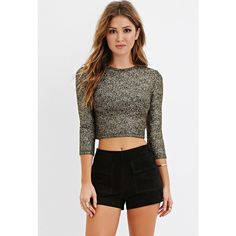 Forever 21 Forever 21 Women's  Metallic-Flecked Crop Top (€14) ❤ liked on Polyvore featuring tops, 3/4 length sleeve tops, three quarter sleeve tops, metallic crop top, forever 21 tops and forever 21