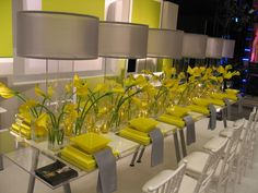 Modern yellow and gray table decor. love being different!