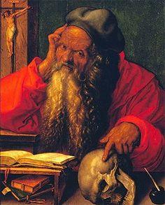 Saint Jérôme dans son cabinet d'étude, 1521, Albrecht Dürer, (Lisbonne, Museu de Arte Antigua). C'est le plus expressif et le plus médité des rares tableaux exécutés par Dürer pendant son voyage aux Pays-Bas. Il a été précédé d'une série d'extraordinaires dessins préparatoires, parmi lesquels l'étude d'après nature du visage d'un vieillard plus que nonagénaire.