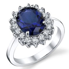 Solid Sterling Silver Kate Middleton`s Engagement Ring with Blue Sapphire Cubic Zirconia Replica Sizes 5 to 9 (bestseller)