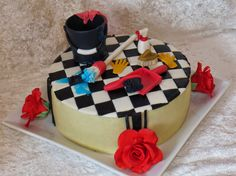 Fondant cleaning cake with sugar roses