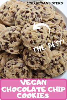 These cookies are chewy, chocolatey, and completely vegan. It's no wonder this recipe is a fan-favorite! #vegan #veganrecipes #plantbased #plantbasedrecipes #sixvegansisters