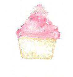 'cupcake' Hi by Rachael Ryan #watercolor #cupcake #hirachaelryan