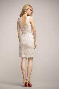elegant ivory v neck v back sleeveless short lace bridesmaid dress with belt 2