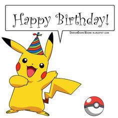 Happy Birthday Pokemon, Birthday Pikachu, Birthday Puns, Happy Birthday Quotes, 6th Birthday Parties, Happy Birthday Wishes, Birthday Greetings, 7th Birthday, Anniversaire Wonder Woman