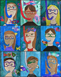 Mixed Media Project: Snorkeling Self Portraits from MaryMaking
