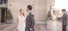 Hyatt Regency Denver wedding first look on the terrace.