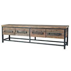 Sideboard Holz Metall,  Sideboard Industrial mit vier Schubladen, Maße 256 x 71 x 48 cm