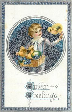 EASTER GREETINGS  round inset, boy dressed in purple holds basket of chicks & one egg, chick on left hand, purple background & purple/silver border