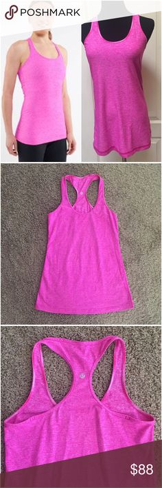 Lululemon Paris Pink Cool Racerback Tank Top 8 ACCEPTING ALL REASONABLE OFFERS! 💕Lululemon Athletica Cool Racerback CRB tank top. Size 8. The color is Heathered Paris Pink.  It's a bright, true, vivid pink, w/beautiful heathering. Sold out & hard to find. Reversible. The Lulu logo is prominently displayed between the shoulders, regardless of which side is facing out. Hip length. Stretchy material. Great for yoga, training, running, dance and fashionable casual days!  Excellent condition…