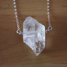 Clear quartz crystal sterling silver necklace rough by ZennedOut, $38.50