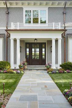 Top NJ Custom Home Builder. Passive Homes. Net Zero Home Builder. Outdoor Walkway, Front Walkway, Pallet Walkway, Front Steps, Modern Entrance Door, House Entrance, Bluestone Patio, Patio Stone, Brick Pavers