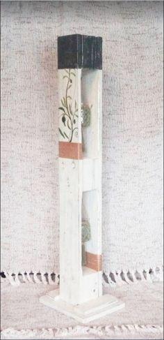 Houten etage windlicht op voet | Karin's Deco Atelier