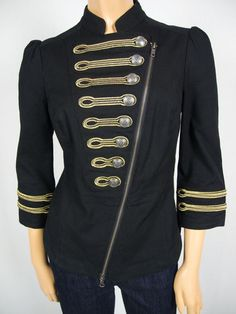 BEBE Black Gold Military Jacket S Metallic Embroidered Accents Cotton Stretch Military Style, Military Fashion, Military Jacket, Band Jacket, Style Fashion, Fashion Outfits, New Inventory, New Pins, Black Gold