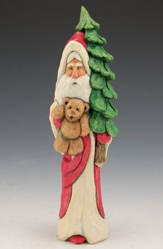 Santa with Christmas Tree and Teddy Bear- Ellis Olson