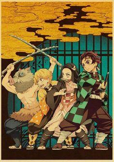 Demon Slayer: Kimetsu no Yaiba Tanjirou Nezuko Anime Poster Kraft Paper Vintage Posters Home Room Art Wall Stickers - 42X30cm / E169 13 / China