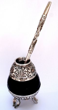 Vintage Carved Yerba Mate Silver 925 Gourd and Bombilla Silver 925 and Gold 750 Made in Argentina. $175.00, via Etsy.