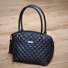 ea70a9560634 Black quilted, Chanel inspired Eco leather domed handbag, Ladies handbag,  ladies purse,