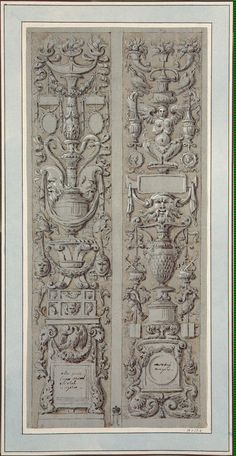 Two grotesque ornamental panels arranged according to the candelabrum principle.